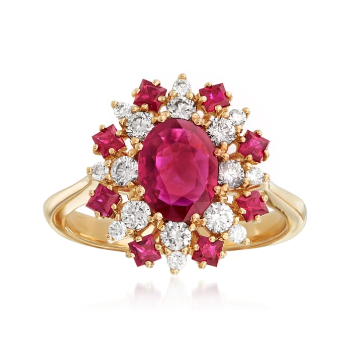 1.90 ct. t.w. Ruby and .50 ct. t.w. Diamond Halo Ring in 14kt Yellow Gold