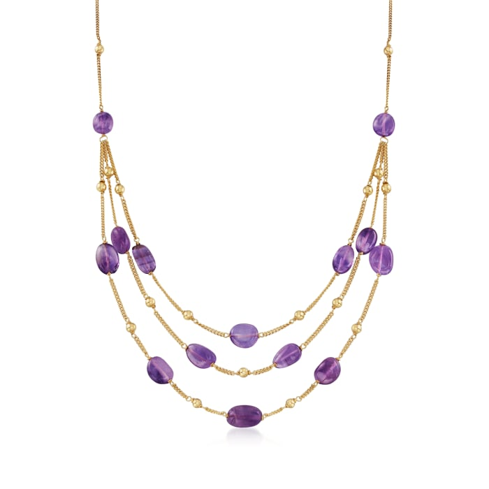 55.00 ct. t.w. Amethyst Bead Station Necklace in 18kt Gold Over Sterling