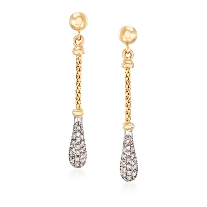"""Phillip Gavriel """"Popcorn"""" .26 ct. t.w. Diamond Drop Earrings in 14kt Two-Tone Gold"""