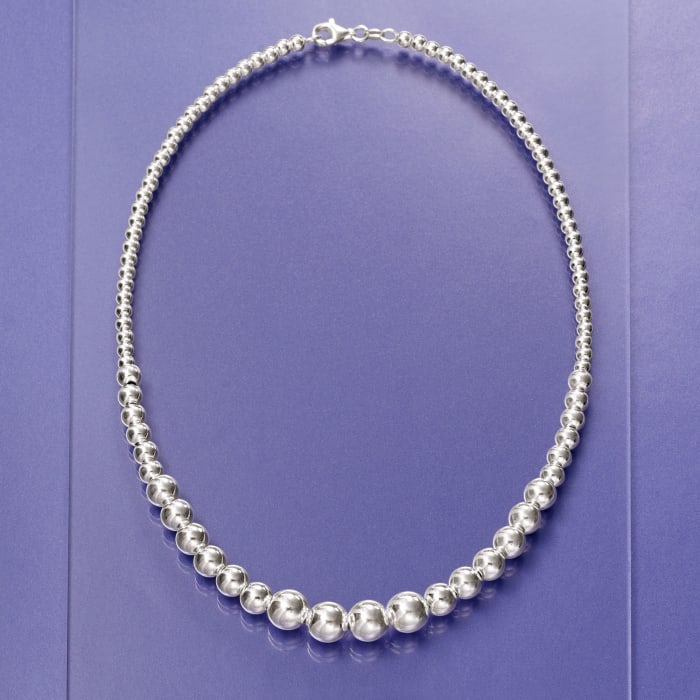 Italian 4-10mm Sterling Silver Graduated Bead Necklace