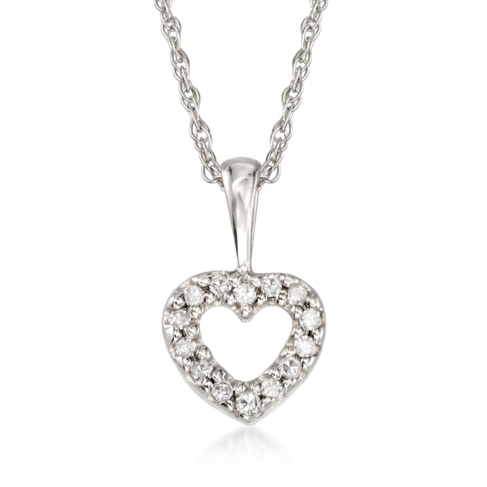Child's Heart Diamond Accent Necklace in 14kt White Gold