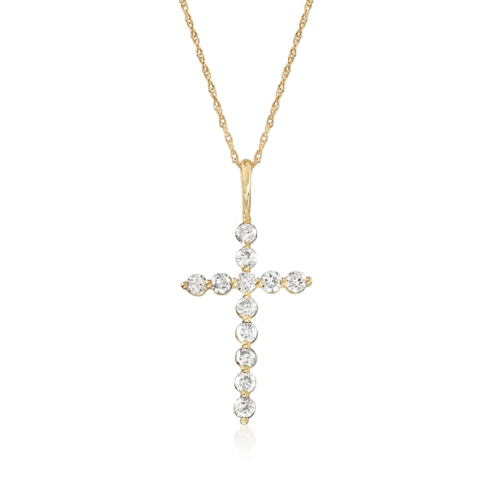 .50 ct. t.w. Diamond Cross Pendant Necklace in 14kt Yellow Gold