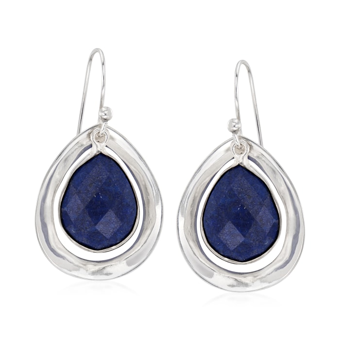 Blue Lapis Drop Earrings in Sterling Silver