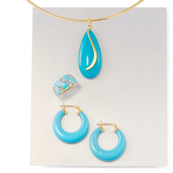 Turquoise Teardrop Pendant in 14kt Yellow Gold