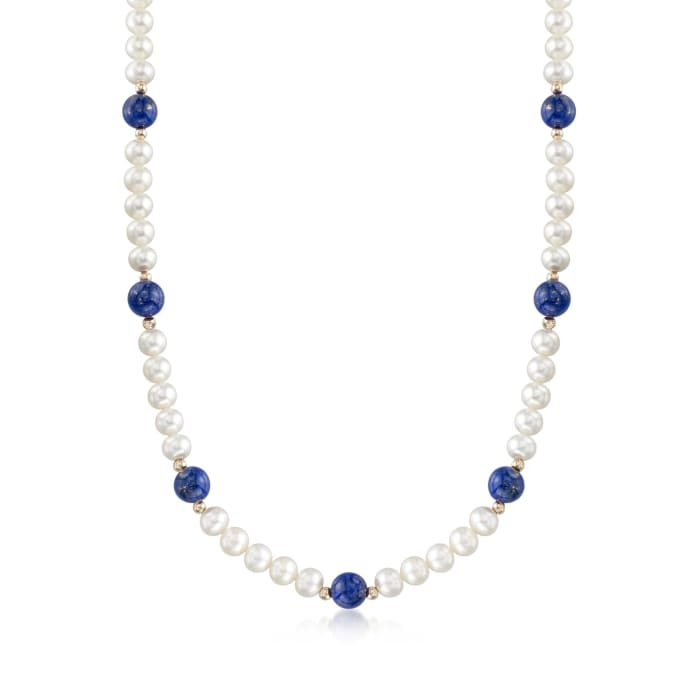 Lapis and 6.5-7mm Cultured Pearl Necklace with 14kt Yellow Gold
