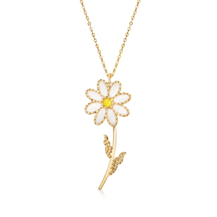 Italian White and Yellow Enamel Daisy Necklace in 14kt Yellow Gold