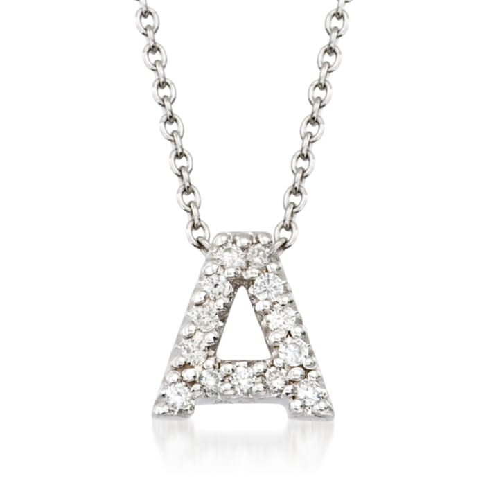 """Roberto Coin """"Love Letter"""" Diamond Accent Initial """"A"""" Necklace in 18kt White Gold"""