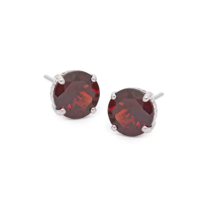 4.30 ct. t.w. Garnet Stud Earrings in 14kt White Gold