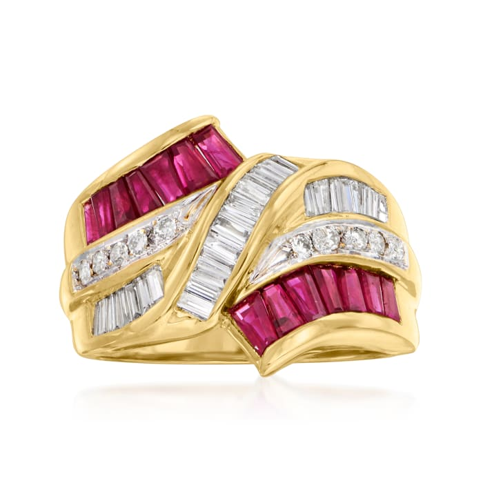 C. 1980 Vintage 1.20 ct. t.w. Ruby and .60 ct. t.w. Diamond Ring in 18kt Yellow Gold