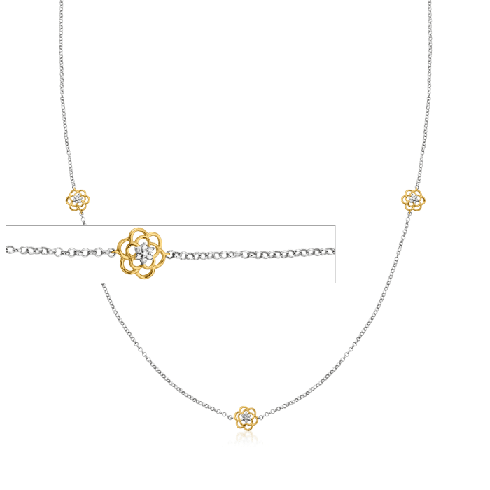 3-In-1 Diamond-Accented Flower Station Necklace, Mask Chain and Eyeglass Holder in Two-Tone Sterling Silver