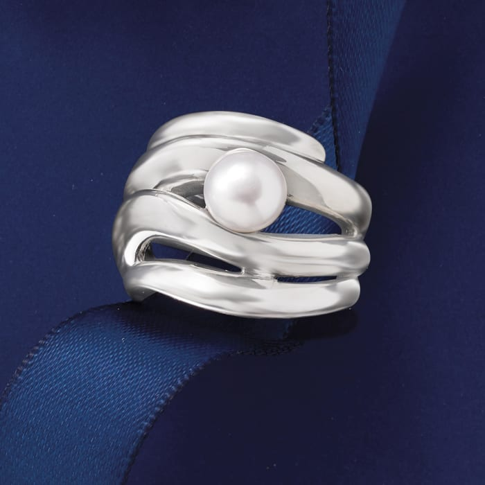 7-8mm Cultured Pearl Open-Space Ring in Sterling Silver