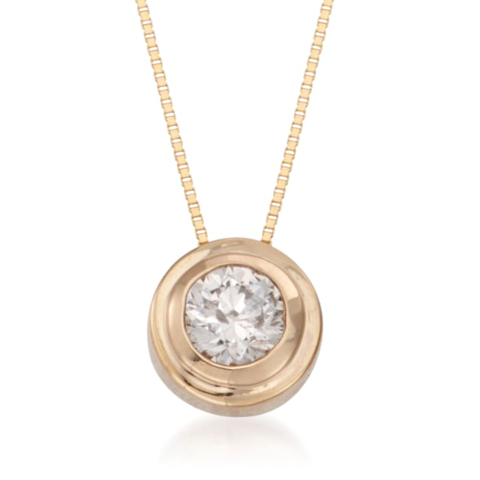 .50 Carat Double Bezel-Set Diamond Solitaire Necklace in 14kt Yellow Gold