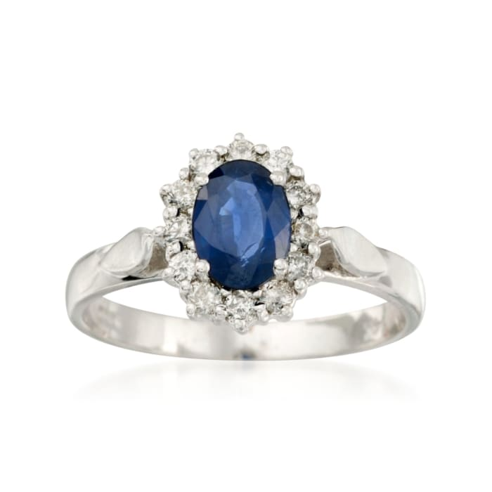 1.00 Carat Sapphire and .10 ct. t.w. Diamond Ring in 14kt White Gold
