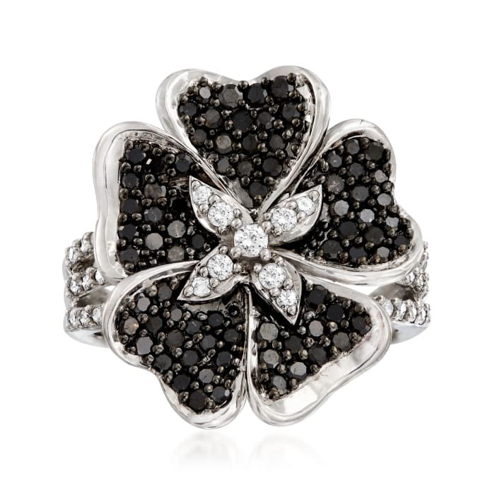 1.00 ct. t.w. Black and White Diamond Flower Ring in Sterling Silver