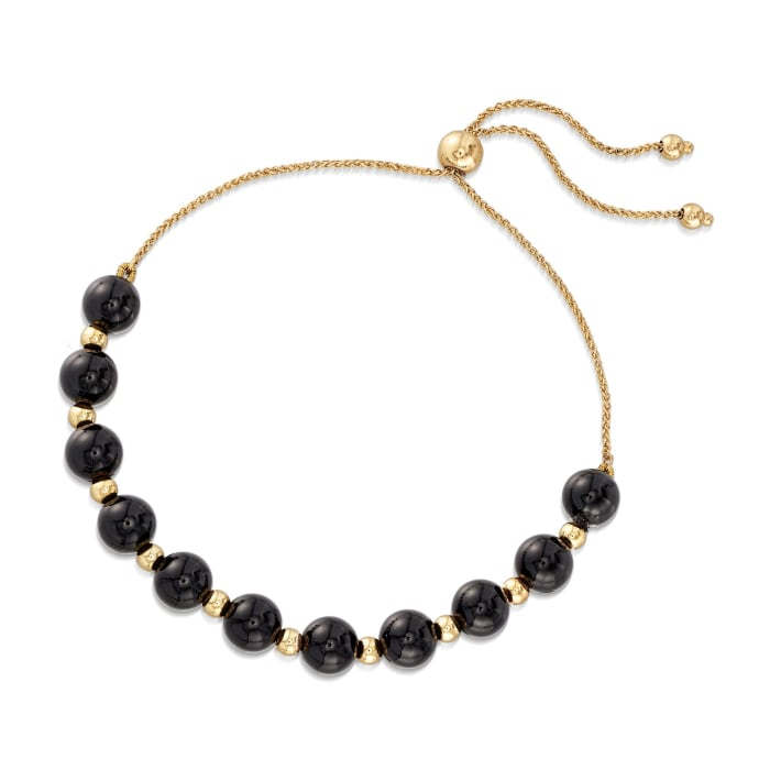 Black Onyx and 14kt Yellow Gold Bead Bolo Bracelet