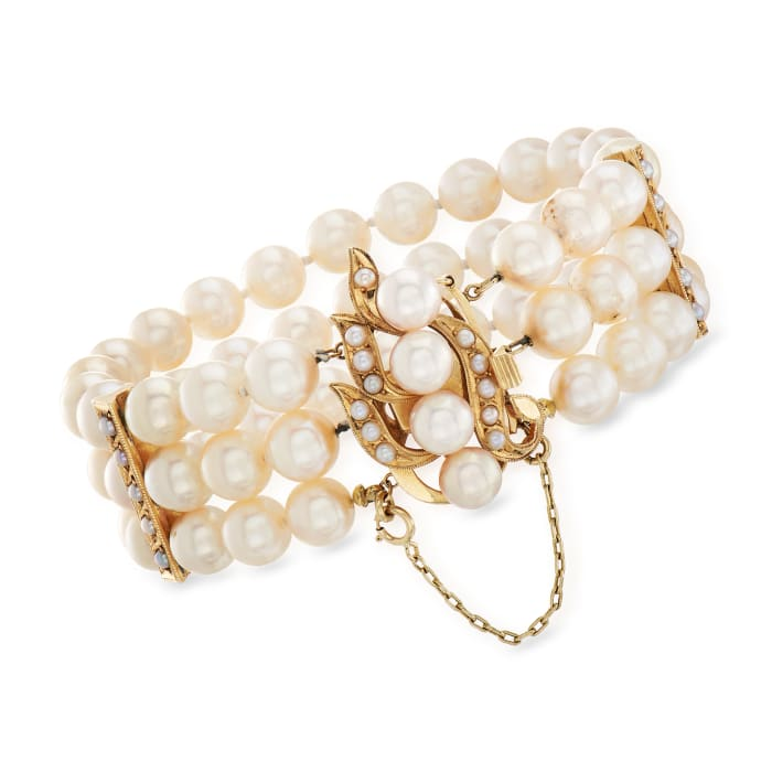 C. 1980 Vintage Cultured Pearl Multi-Row Bracelet in 14kt Yellow Gold
