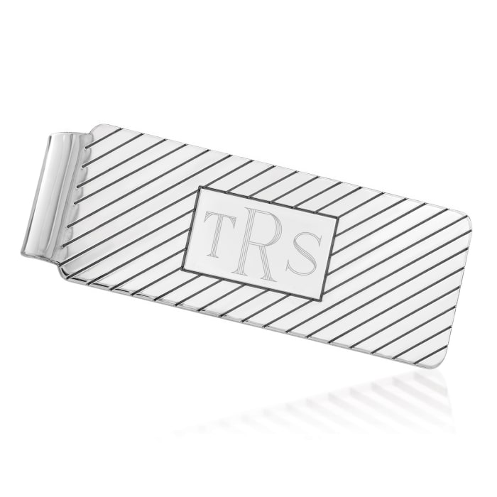 Sterling Silver  Three-Initial Engravable Money Clip