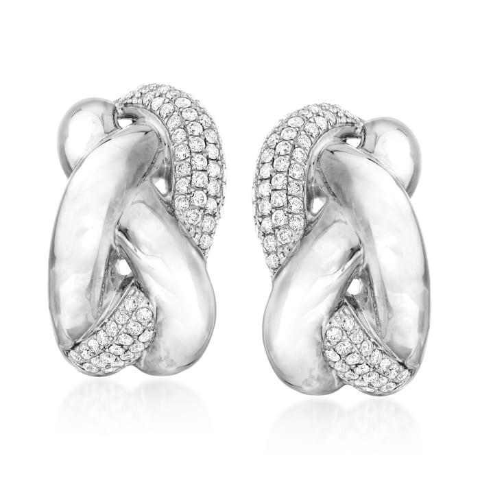 .90 ct. t.w. Diamond Braided Earrings in 14kt White Gold