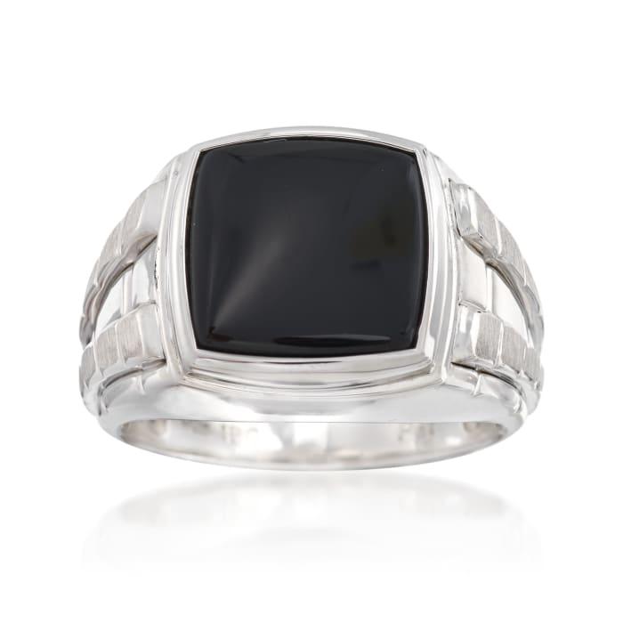 Men's Black Onyx Ring in Sterling Silver