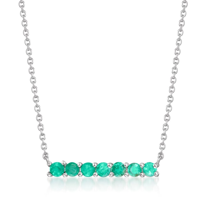 .50 ct. t.w. Emerald Bar Necklace in Sterling Silver