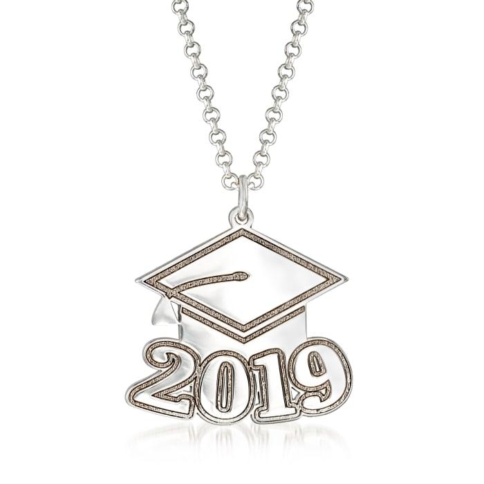 Sterling Silver 2019 Graduation Cap Personalized Pendant Necklace