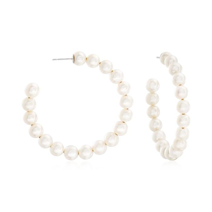 6-7mm Cultured Pearl Hoop Earrings in Sterling Silver