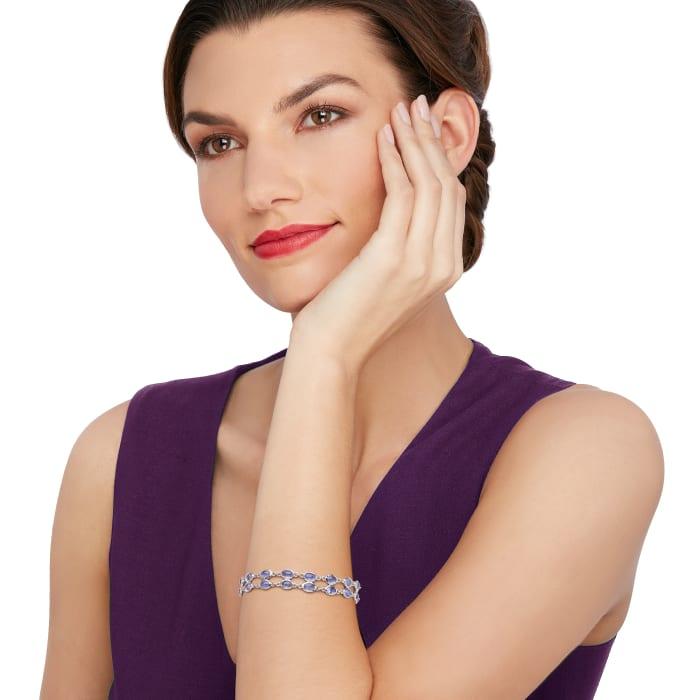16.00 ct. t.w. Tanzanite Double Row Bracelet in Sterling Silver