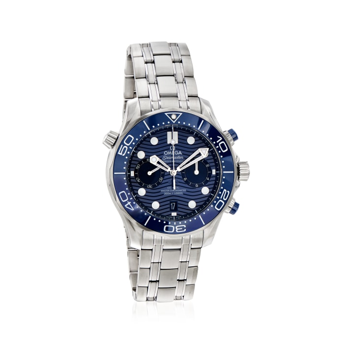Omega Seamaster Diver Men's 44mm Automatic Chronograph Stainless Steel Watch with Blue Dial
