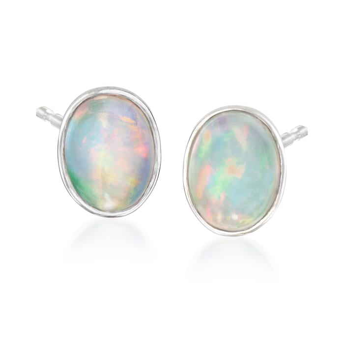Bezel-Set Opal Stud Earrings in Sterling Silver