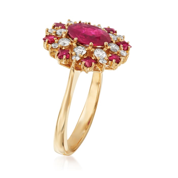 1.90 ct. t.w. Ruby and .50 ct. t.w. Diamond Halo Ring in 14kt Yellow Gold