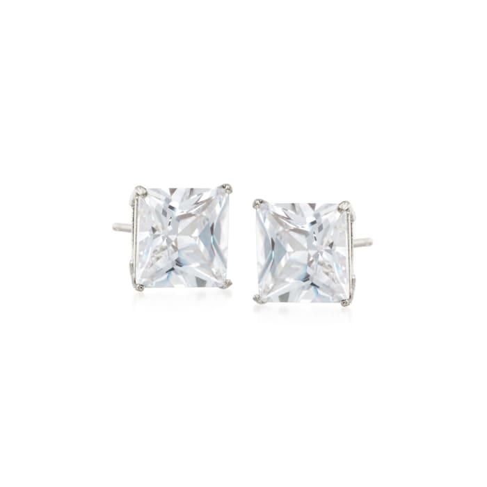 2.00 ct. t.w. Princess-Cut CZ Stud Earrings in 14kt White Gold