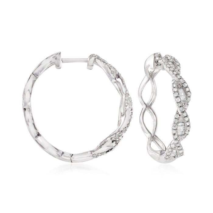 .50 ct. t.w. Baguette and Round Diamond Twisted Hoop Earrings in Sterling Silver
