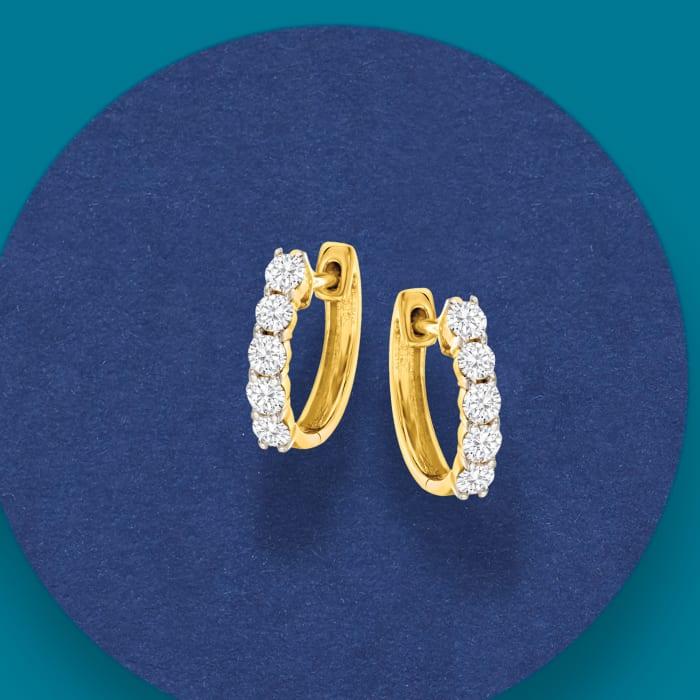 .50 ct. t.w. Diamond Huggie Hoop Earrings in 14kt Yellow Gold
