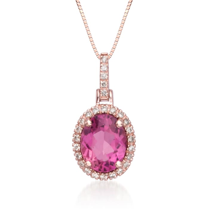 1.95 Carat Pink Tourmaline and Diamond Pendant Necklace in 14kt Rose Gold