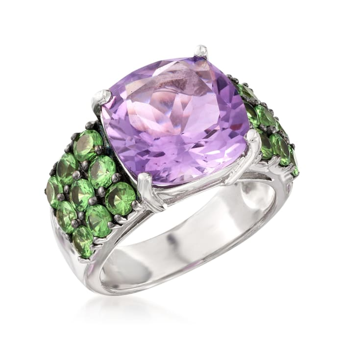 5.60 Carat Amethyst and 2.10 ct. t.w. Green Tsavorite Ring in Sterling Silver