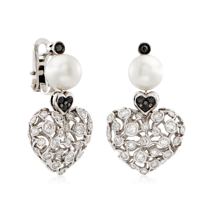 C. 2000 Vintage 9.5mm Cultured Pearl and 2.50 ct. t.w. Black and White Diamond Heart Drop Earrings in 18kt White Gold