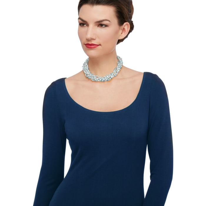 Aquamarine Bead and 5-6mm Cultured Pearl Torsade Necklace with Sterling Silver