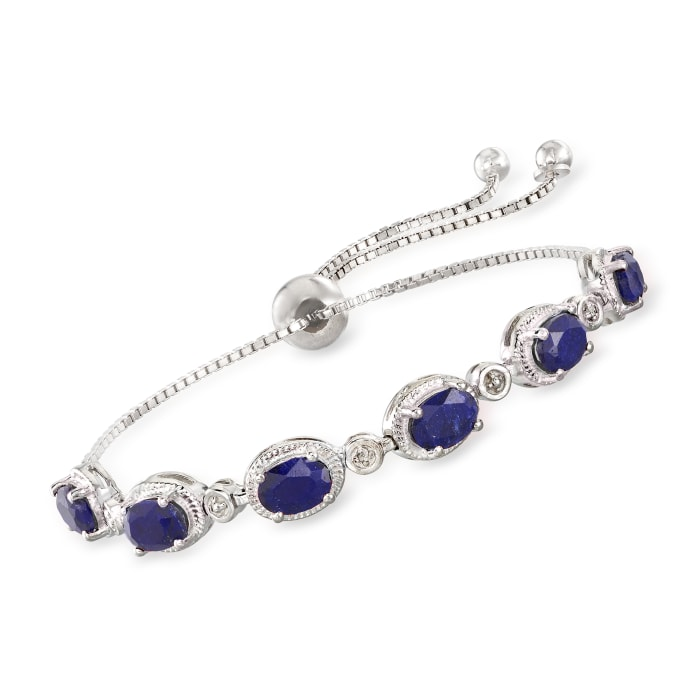 6.75 ct. t.w. Sapphire Bolo Bracelet with Diamond Accents in Sterling Silver