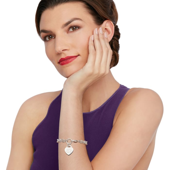 Sterling Silver Personalized Heart Charm Bracelet