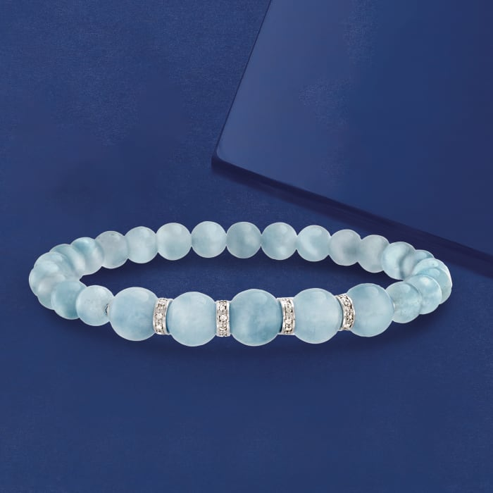 6-8mm Graduated Aquamarine Bead and .24 ct. t.w. Diamond Spacer Bracelet in Sterling Silver