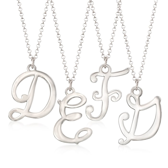 Sterling Silver Script Single Initial Pendant Necklace