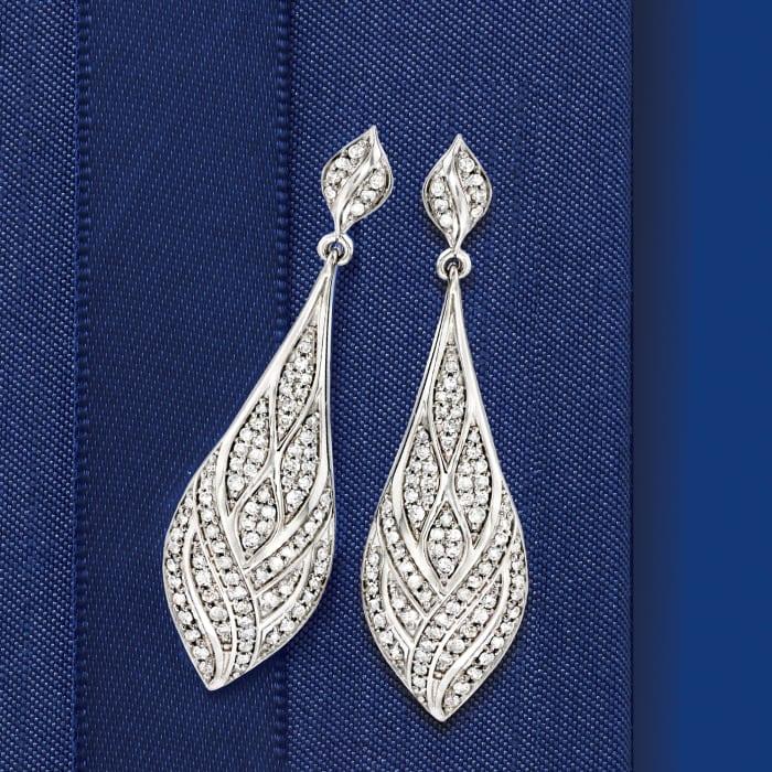 1.00 ct. t.w. Diamond Geometric Teardrop Earrings in Sterling Silver