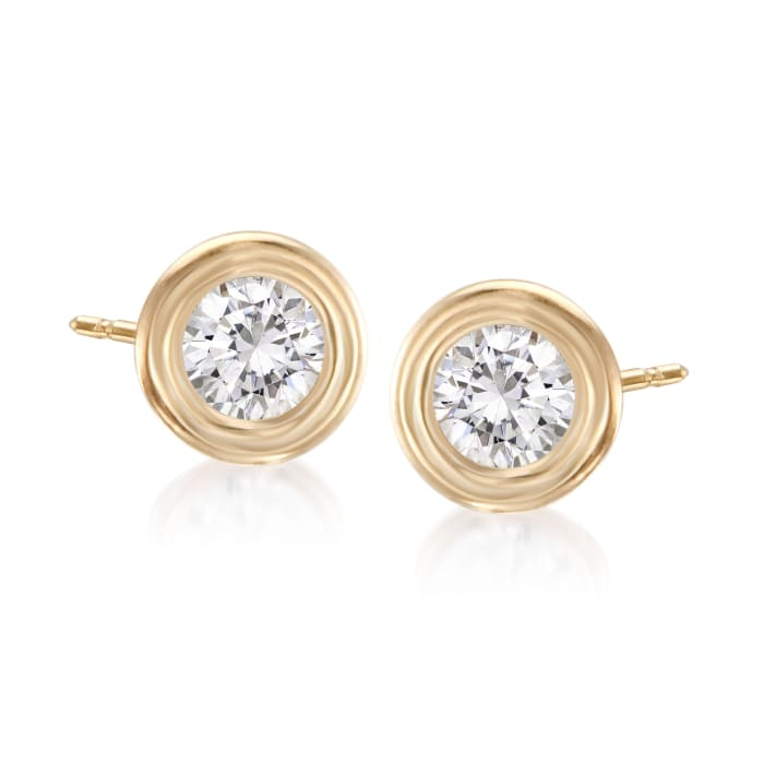 .50 ct. t.w. Double Bezel-Set Diamond Earrings in 14kt Yellow Gold