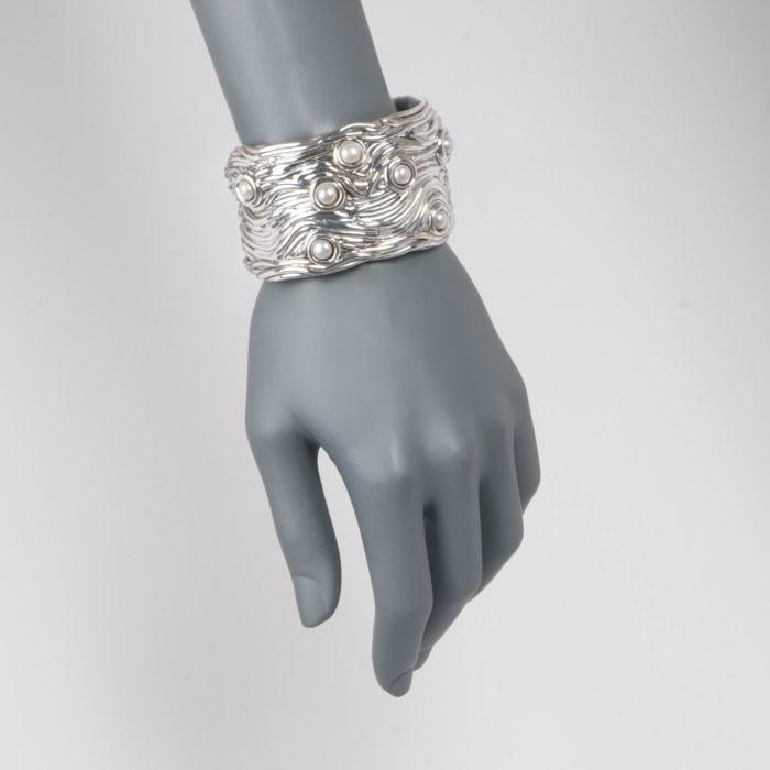 6-6.5mm Cultured Button Pearl Cuff Bracelet in Sterling Silver