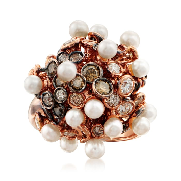 C. 1980 Vintage Roberta Poratti Cultured Pearl and 3.05 ct. t.w. Brown and White Diamond Cluster Ring in 18kt Rose Gold