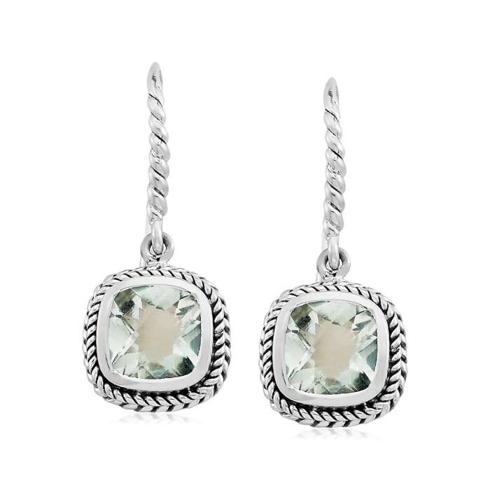4.00 ct. t.w. Prasiolite Roped Drop Earrings in Sterling Silver