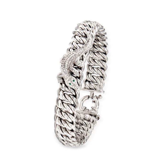 Italian Sterling Silver Alligator Bracelet with Green Enamel