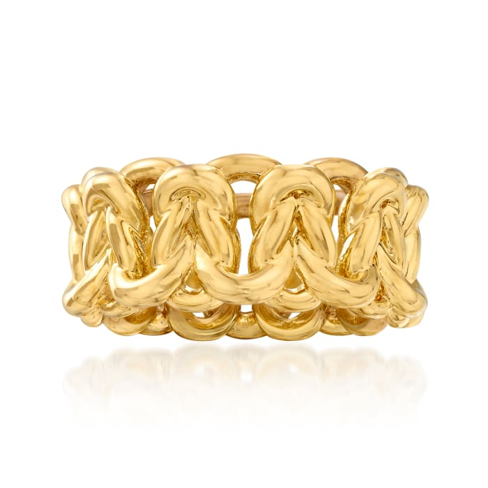 Italian Andiamo 14kt Yellow Gold Over Resin Link Ring