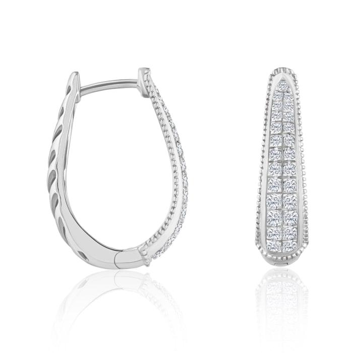 .50 ct. t.w. Diamond Tapered Hoop Earrings in 14kt White Gold