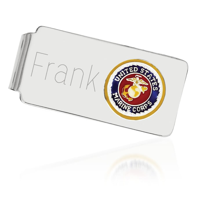 Sterling Silver U.S. Marine Corp Enameled Engravable Money Clip